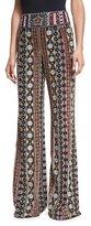 Alice + Olivia Embellished Wide-Leg Pants, Black/Multicolor