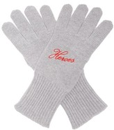 Raf Simons Heroes Embroidered Wool-blend Gloves - Womens - Grey