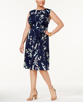 Charter Club Plus Size Floral-Print Fit and Flare Dress, Created for Macy's