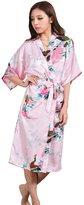Honeystore Women's Long Silk Kimono Robe Peacock Japanese Satin Dressing Gown S