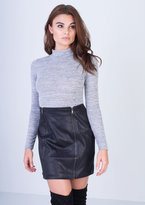 Missy Empire Iyla Black Textured Bodycon Mini Skirt