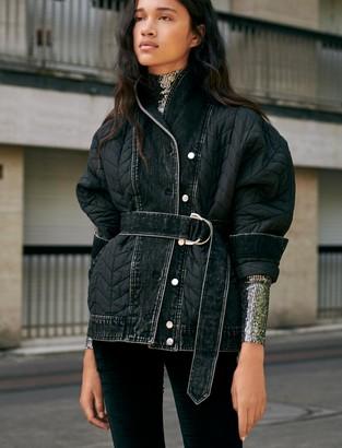 Maje Mixed material down jacket