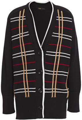 Maje Mada Checked Wool-blend Cardigan