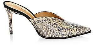 Schutz Women's Heliconia Notched Snakeskin-Embossed Leather Mules