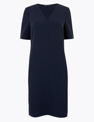 Marks and Spencer Crepe V-Neck Knee Length Shift Dress
