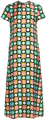 La DoubleJ Edition 20 Geometric Print Silk Swing Dress