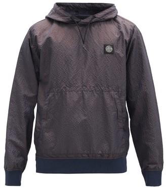 Stone Island Logo-patch Shell-seersucker Hooded Sweatshirt - Navy