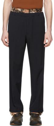 Dries Van Noten Navy Wool Double Waistband Trousers