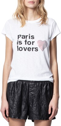 Zadig & Voltaire Paris Is For Lovers Embellished Cotton Blend Graphic Tee