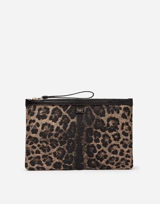 Dolce & Gabbana Flat Beauty Case In Jacquard Raffia With Leopard Print