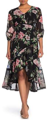 Taylor Floral Chiffon Ruffle Dress (Petite & Plus Size)