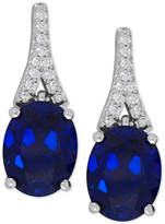 Macy's Lab-Created Sapphire (5-1/5 ct. t.w.) and White Sapphire (1/8 ct. t.w.) Drop Earrings in Sterling Silver