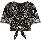 River Island Womens Black embroidery print tie front crop top