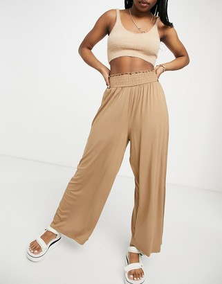 ASOS DESIGN culotte pant with shirred waist in sand