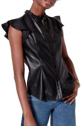 Orien Leatherette Ruffle-Sleeve Blouse