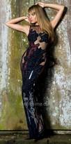 Nika Sheer Illusion Embellished Monte Carlo Slit Dress