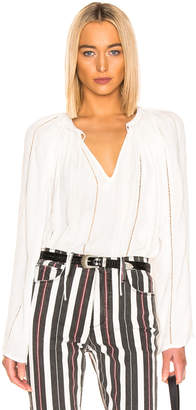 Frame Lattice Peasant Top in Off White | FWRD