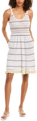 La Vie Rebecca Taylor Stripe Linen-Blend Sweaterdress