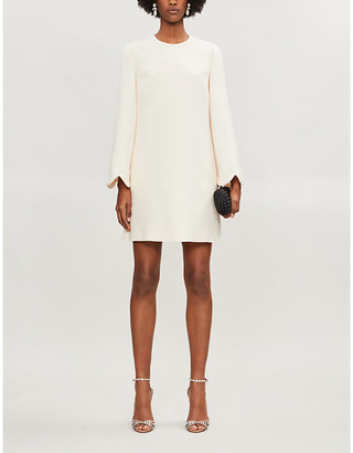 Valentino Scalloped-hem wool and silk-blend mini dress