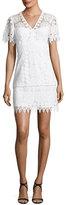 Nanette Lepore Dandelion Short-Sleeve Lace Shift Dress, White