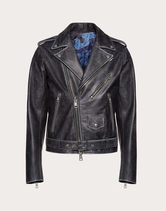 Valentino Bullhide Leather Biker Jacket Man Navy Bovine Leather 100% 48
