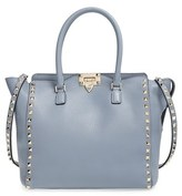 Valentino 'Rockstud Double Handle' Leather Tote - Grey
