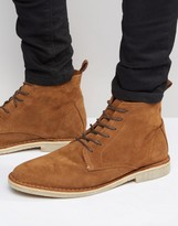 Asos High Desert Boots in Tan Suede