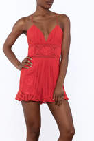 Saylor Red Sleeveless Romper