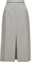 Alice + Olivia Sabrena striped stretch-cotton midi skirt