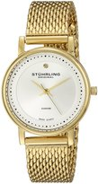 Stuhrling Original Women's 734LM.04 Classic Ascot Casatorra Elite Swiss Quartz Genuine Diamond Gold Tone Mesh Bracelet Watch