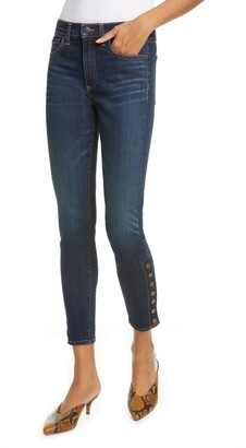 Veronica Beard Debbie Side Button High Waist Ankle Skinny Jeans