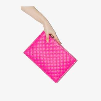 Valentino pink Garavani rockstud large leather pouch