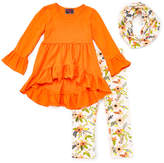Orange Ruffle Tunic & Floral Scarf Set - Infant, Toddler & Girls