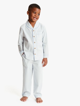 John Lewis & Partners Boys' Stripe Print Pyjamas, Light Blue