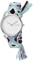 RumbaTime Women's 20052 'Jane Silver GiveDirectly' Quartz Metal and Cloth Blue Watch