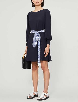 Claudie Pierlot Ravageuse contrast-belt crepe dress