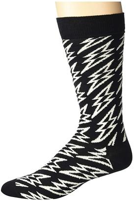 Happy Socks Flash Lightening Sock (Black/White/Grey) Men's Crew Cut Socks Shoes