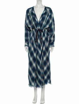 Jonathan Simkhai Plaid Print Long Dress Blue