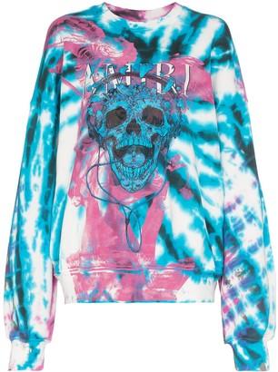 Amiri skull logo print tie-dye sweatshirt