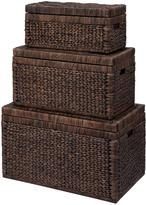 Very Set of 3 Arrow Weave Wicker Storage Chests - Chocolate