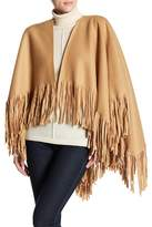 David & Young Knit Fleece Fringe Shawl