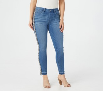 Laurie Felt Silky Denim Sequin Stripe Ankle Jeans