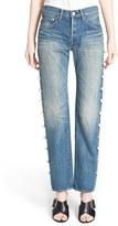 Women's Tu Es Mon Tresor Imitation Pearl Embellished Jeans