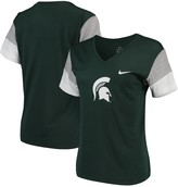 Nike Women's Green/White Michigan State Spartans Breathe Team Sleeve Performance V-Neck T-Shirt