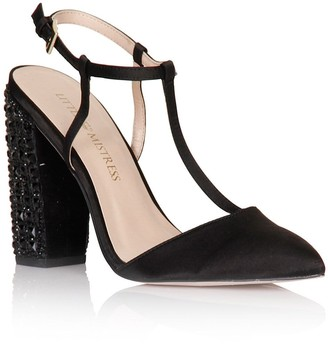Little Mistress Footwear Black T-Bar Embellished Heels