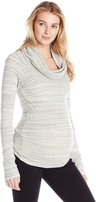Ingrid & Isabel Women's Maternity Marble Long Sleeve Cowl Neck Tee