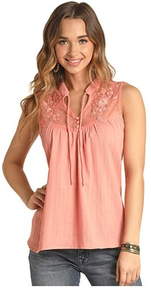Rock and Roll Cowgirl Sleeveless Embroidered Blouse B5-4497 (Coral) Women's Clothing