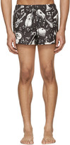 Dolce & Gabbana Black & White Instrument Swim Shorts