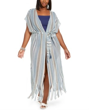 Becca Etc Plus Size Crochet Wander Cover-Up Kimono Women's Swimsuit
