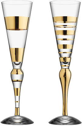 Orrefors Set Of 2 Clown Champagne Flute Gold